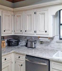antique white kitchen makeover general finishes design With kitchen colors with white cabinets with union jack wall art
