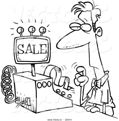 cashier black  white clipart clipart suggest