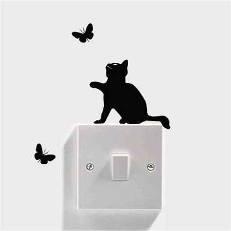 light switch cat wall stickers home decor decals art mural baby nursery room diy ebay