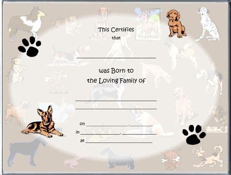 dog birth certificates dog birth certificates page
