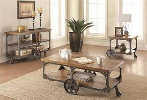 701128 coffee table in rustic brown by coaster w options for Rustic dark brown coffee table
