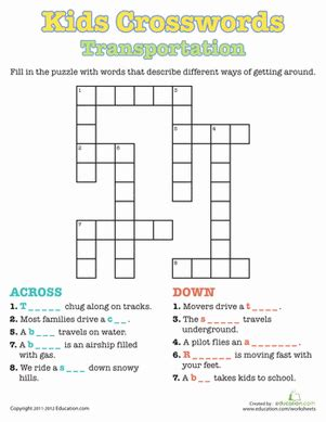 kids crosswords transportation worksheet educationcom