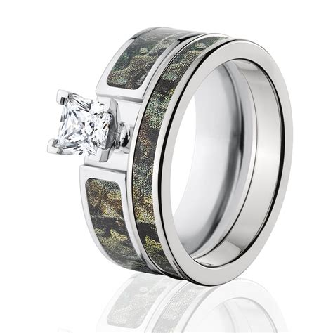 timber camo bridal womens camouflage wedding ring