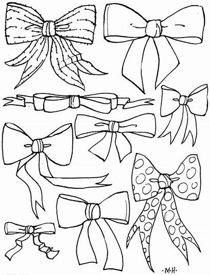 Bow Coloring Hair Bows Pages Cheer Drawing