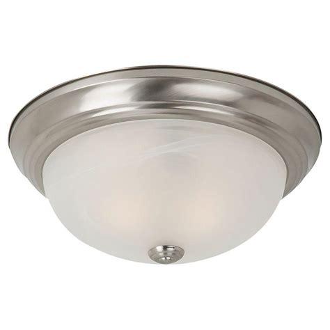 home depot flush mount ceiling light fixtures sea gull lighting windgate 2 light brushed nickel