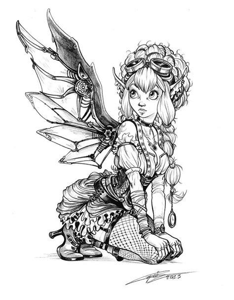 Steampunk fairy by Capia on deviantART wings gears sprockets metal lady woman babe Tattoo Flash