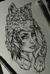 Native American girl with a wolf head dress. (I would ...