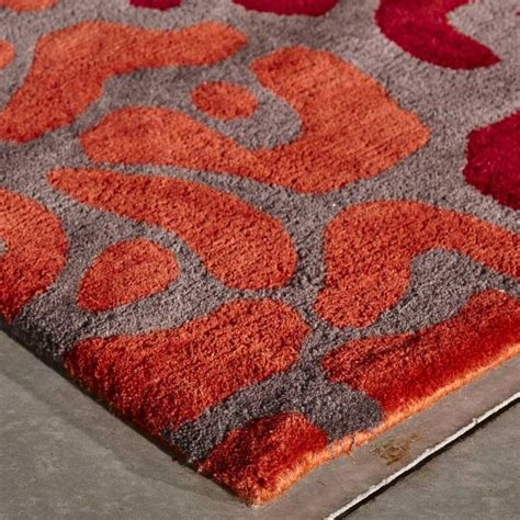 tapis de salon multicolore effet leopard en laine
