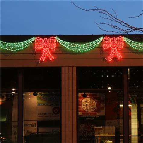 christmas swag lights with bow lighted led 3d green bow add to 3d swag holidynamics lighting solutions