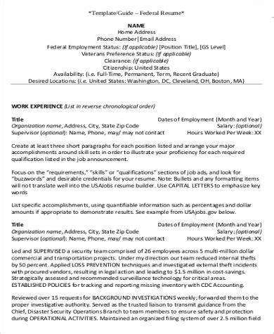 Federal Resume by Federal Resume Exle 7 Sles In Word Pdf