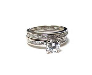 cz wedding ring sets classic 925 sterling silver cz wedding rings 2 pc set tcworks on artfire