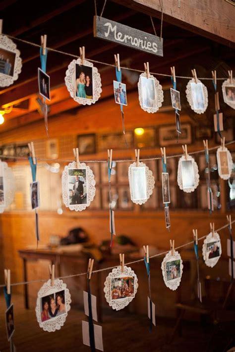 creative diy photo display wedding decor ideas tulle chantilly wedding blog