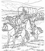 Coloring Pages Wagon Covered Adult Cowboy Horse West Sheets Cowboys Books Western Gypsy Caravan Drawing Printable Line Pioneer Colouring Template sketch template