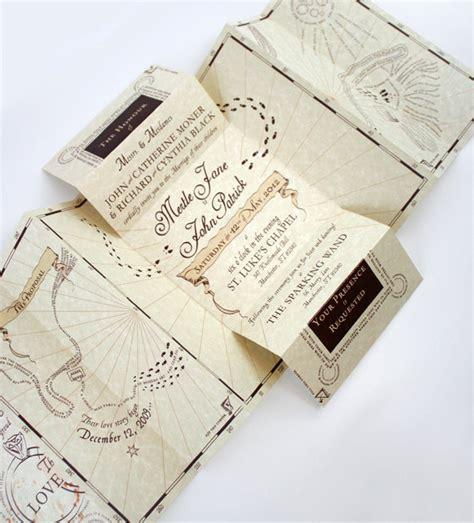 harry potter inspired wedding invitation suite
