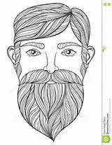 Coloring Beard Pages Mustache Adult Tattoo Zentangle Portrait Vector Ethnic Handsome Patterned Shirt Template A4 Drawn Mo Illustration sketch template