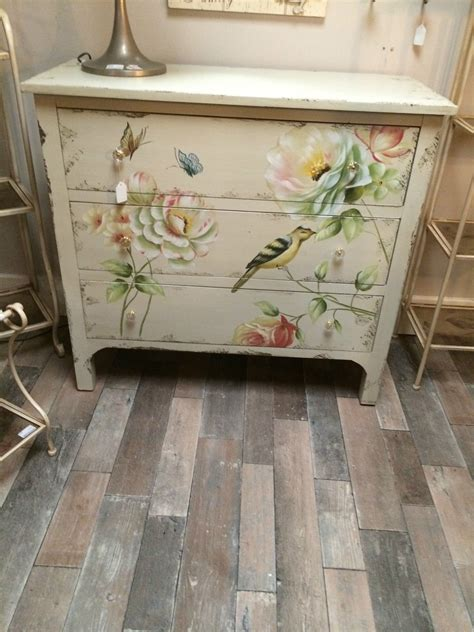 shabby chic wood paint shabby chic aged cream wood painted bird butterfly chest of 3 drawers bedroom the floor