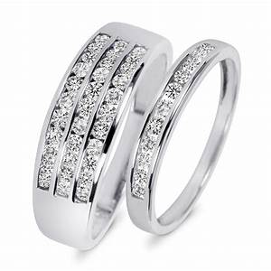 7 8 carat tw diamond his and hers wedding rings 10k With his and hers white gold wedding rings