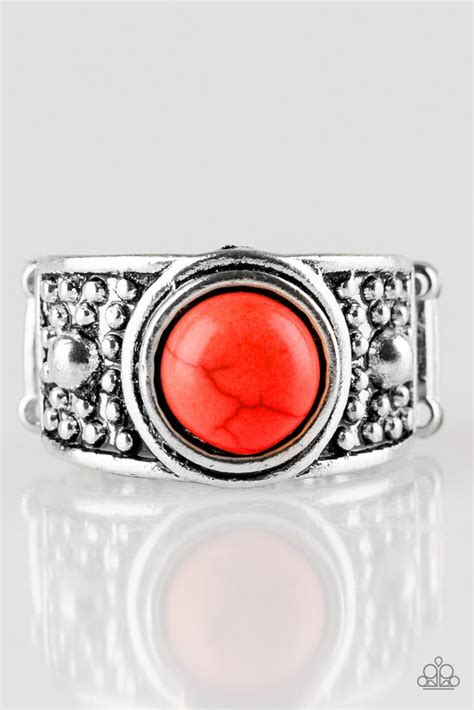 paparazzi summer oasis red stone antiqued silver ring