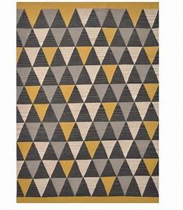 Tapis Jaune Et Noir : laine triangles gris jaune blanc kaligrafik ~ Teatrodelosmanantiales.com Idées de Décoration