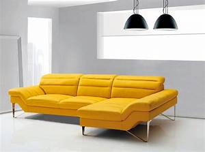 Yellow leather sectional sofa vg994 leather sectionals for Yellow leather sofa bed