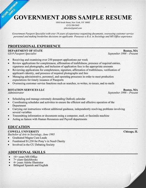 government resume exle resumecompanion
