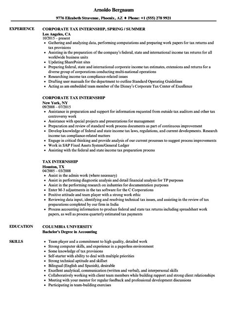 Accounting Intern Resume by Tax Internship Resume Sles Velvet