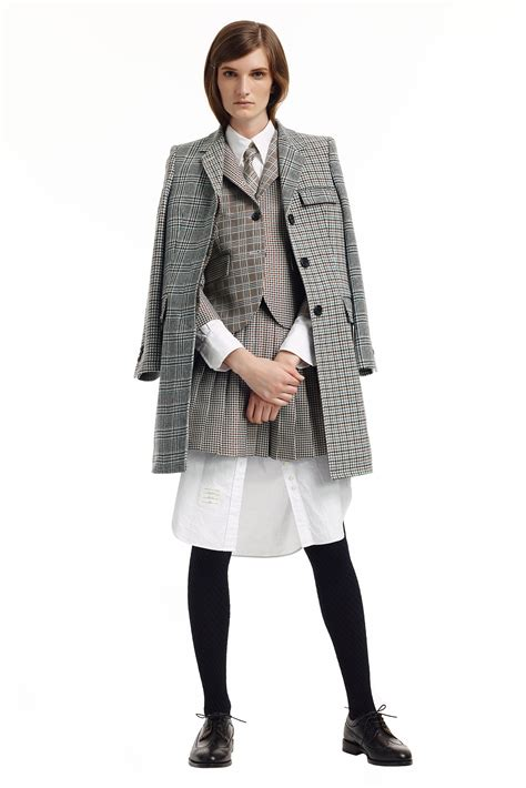 luxe uniform inspired outfits in thom browne pre fall 2018