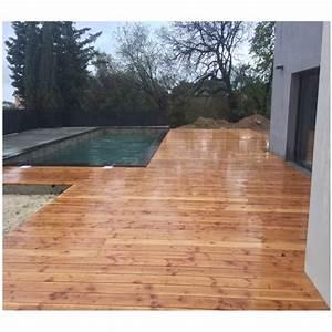 Poteau Bois Rond 3m : lame de terrasse bois lineo 28x145mm douglas naturel lisse ~ Voncanada.com Idées de Décoration