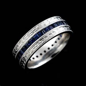 mens sapphire wedding bands crafted antique style princess sapphire 39 s wedding band 7mm orospot jewelry on artfire