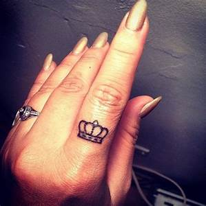 Small Crown Tattoo On Finger