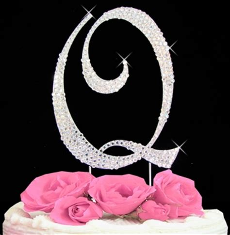 initial  cake topper letter  fully covered  swarovski crystals