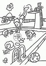Coloring Summer Fun Pages Printable Pool Popular sketch template