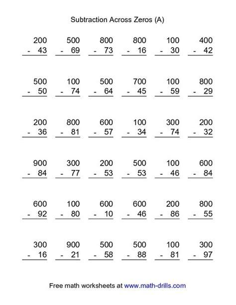 2nd grade math worksheet 3 digit subtraction with regrouping subtraction worksheet subtraction across zeros 36