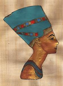 "Egyptian Papyrus Painting Queen Nefertiti 7X9"" + Hand ..."