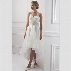 White chiffon beach wedding dress short front long back for Short white beach wedding dresses