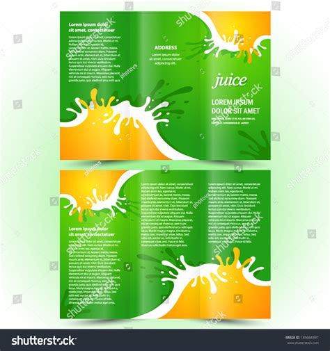 Brochure Design Template Juice Fruit Drops Stock Vector Juice Fruit Drops Liquid Orange Green Element Brochure