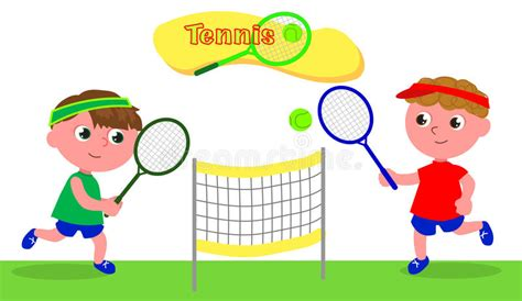 young cartoon tennis player vector stock vector illustration  boys kids