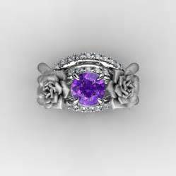 nature inspired wedding rings nature inspired 14k white gold 1 0 ct amethyst vine engagement ring wedding band