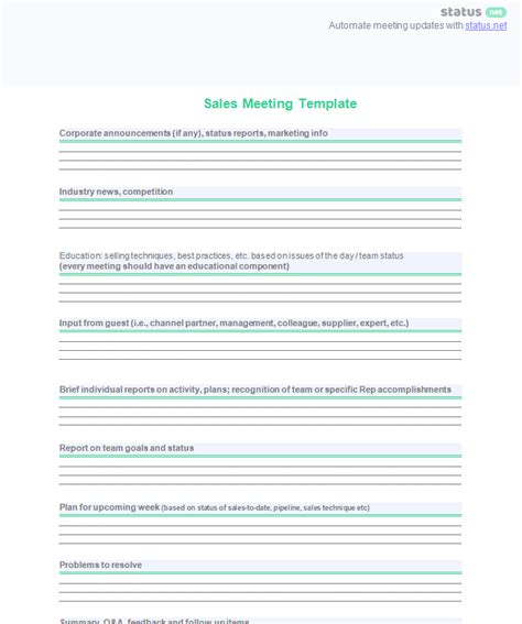 conducting  productive sales meeting  agenda templates