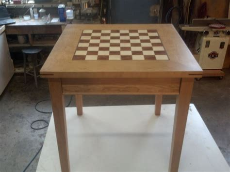 hand crafted cherry chess table  puddle town woodworking