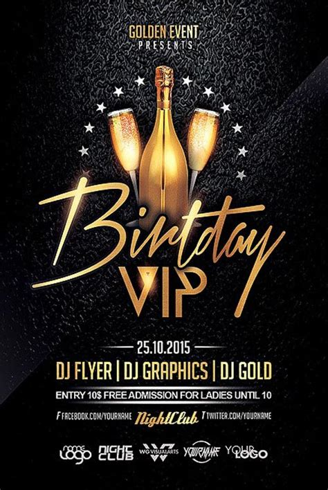 birthday flyer template birthday vip flyer template flyer for club and events