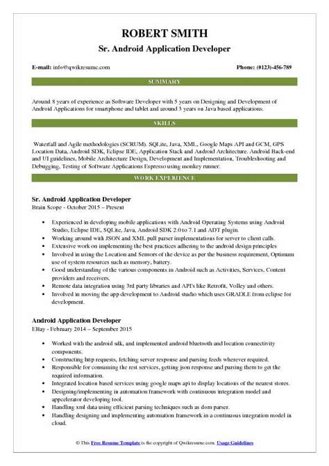 resume headline for experienced android developer the