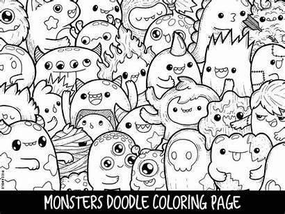 Coloring Doodle Kawaii Printable Monsters Monster Adults
