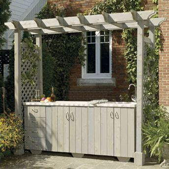 Build an outdoor kitchen island with pergola
