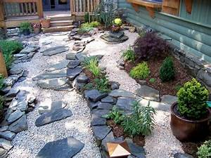 japanischer garten steine kies pflanzen elemente vorgarten With französischer balkon mit garten steine kies