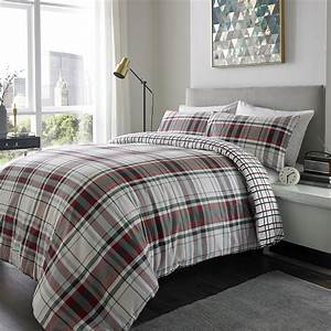 Brushed, Cotton, Check, Duvet, Set, Various, Sizes, Available, Red