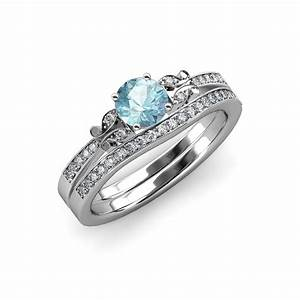 Aquamarine diamond butterfly engagement ring wedding for Butterfly wedding ring set