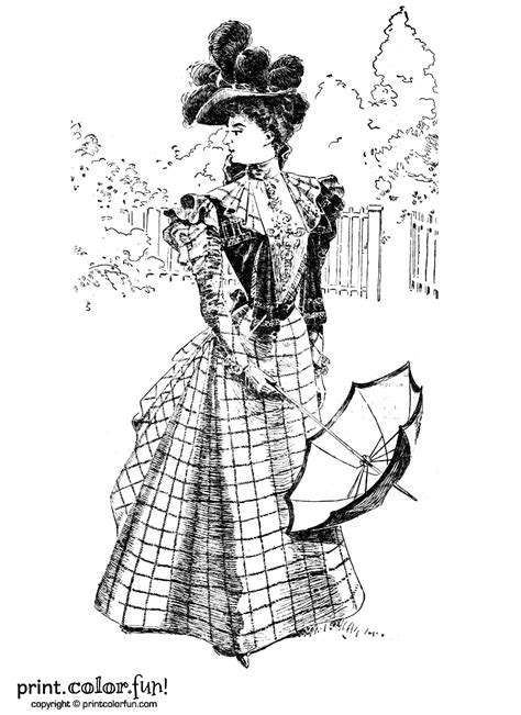 Halloween Stencils For Pumpkins by Woman In A Vintage Victorian Dress Coloring Page Print
