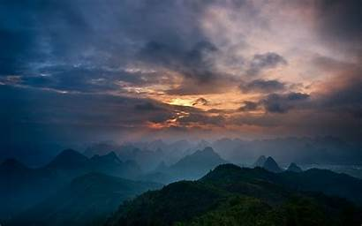 China Sky Guilin Clouds Valley Mountain Town