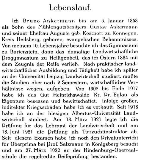 bruno ankermann gut heinrichswalde genealogie tagebuch